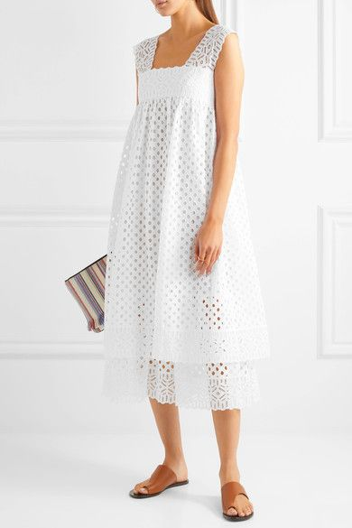 White broderie anglaise cotton Concealed hook and zip fastening at side 100% cotton Dry clean Imported