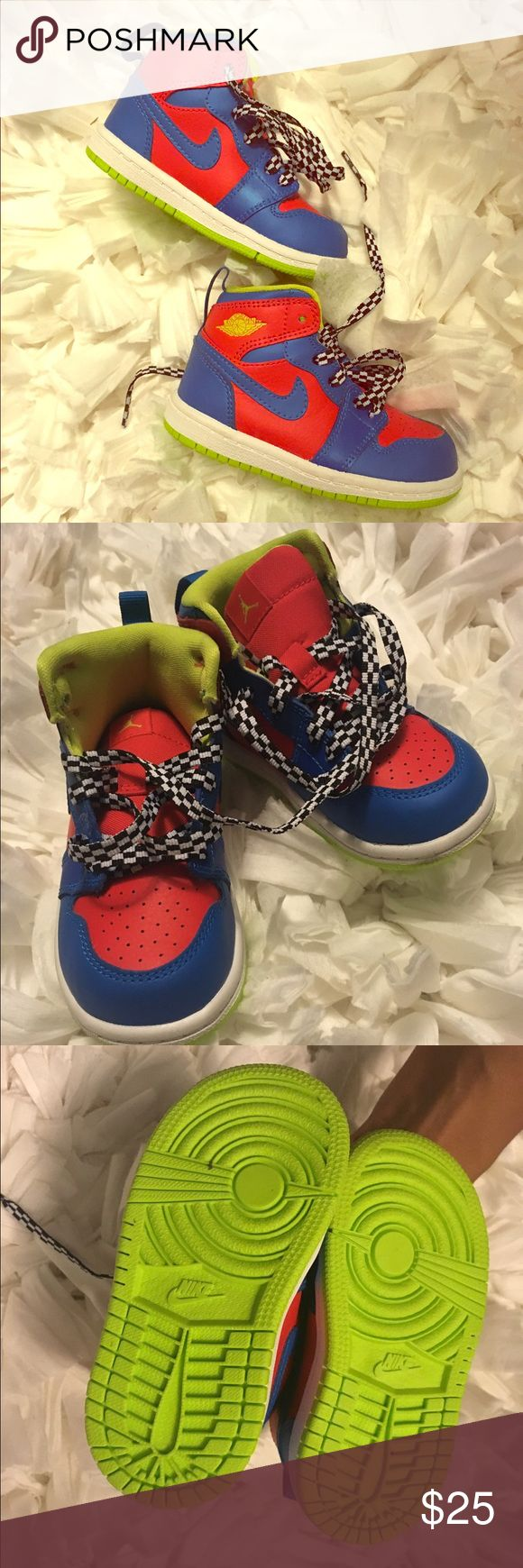 "Nike Jordan Retro 1 ""Nitro"" Preloved💕 Jordan 1 ""Nitro"" Toddler Sneakers//Worn ☝🏽(1) time//No scuffs//No stains//No box Nike Shoes Sneakers"