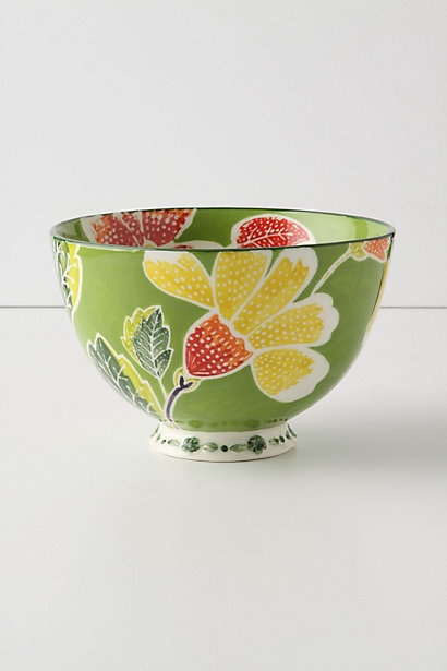 Green Flame Leaf bowl from Anthro