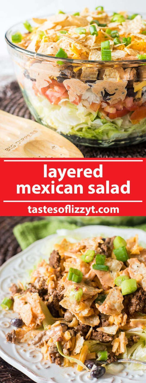 A simple Mexican salad with layers of veggies, seasoned ground beef, cheese, crunchy tortilla chips and a special 3-ingredient sauce.