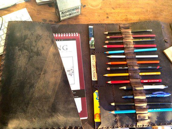 Leather sketchbook - leather portfolio for iPad, sketchbook, pencils, leather art journal made to order