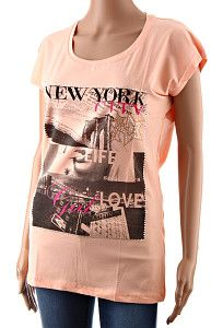 Predĺžené dámske tričko Megi N.Y. oranžové  Predĺžené dámske tričko s krátkym rukávom jemnej oranžovej farby. Tričko je vykladané kamienkami a potlačené kolážou obrázkov a slov s motívom mesta New York. Materiál je kvalitná bavlna s 8% elastanu.  http://www.yolo.sk/damske-tricka-bluzky-kratky-rukav/oranzove-damske-tricko-megi-ny