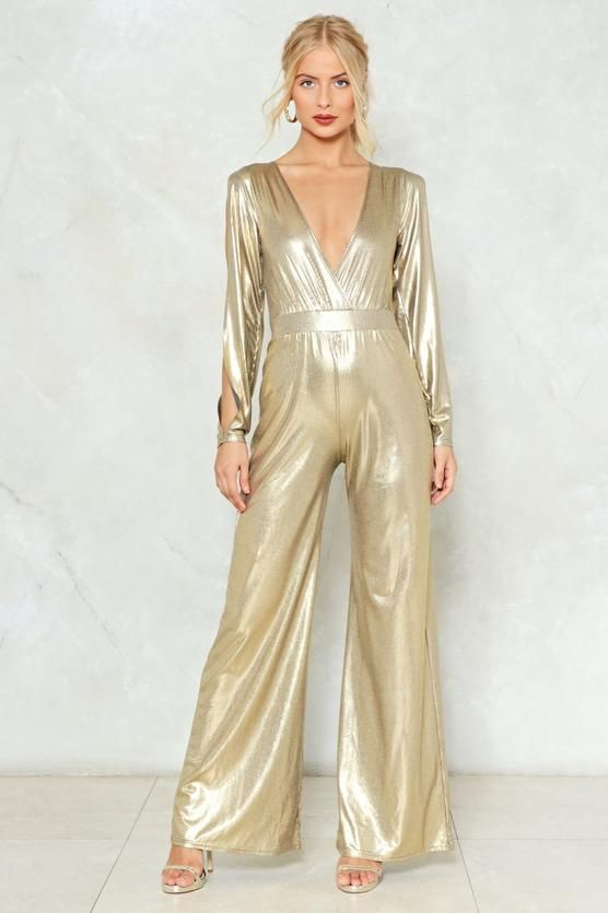 2afb61318f1 Dripping in Gold Metallic Jumpsuit in 2019