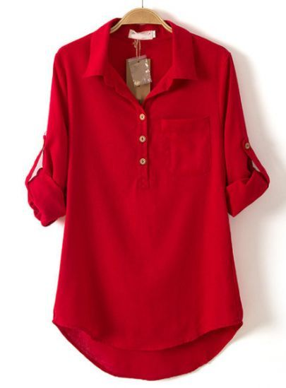 Red Lapel Long Sleeve Pocket Dipped Hem Blouse pictures