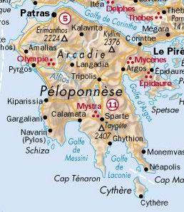 Carte De La Region Du Peloponnese Carte Grece Peloponese