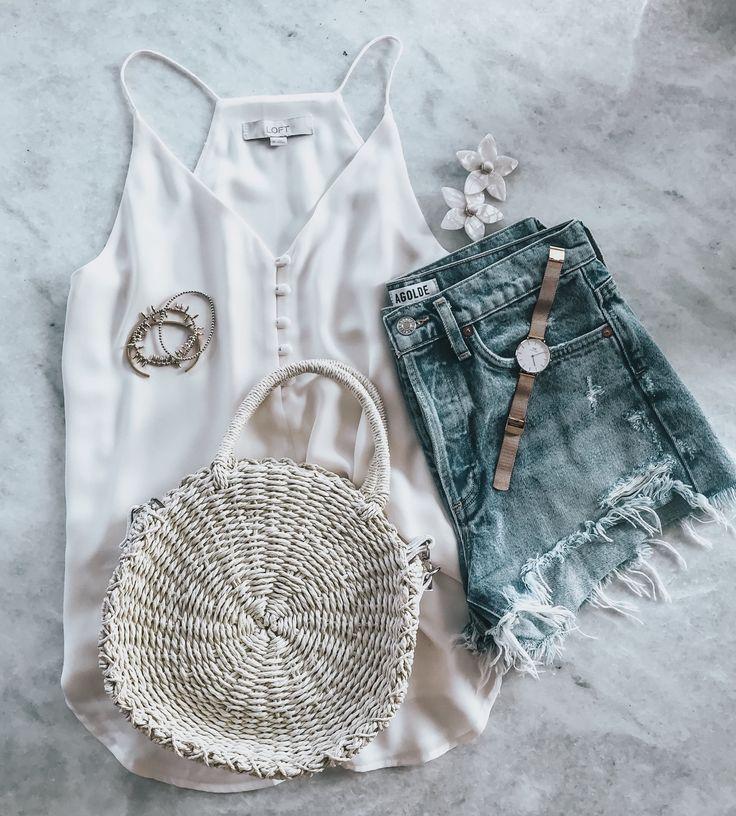 Flatlay - Summer Style | Summer basics, White tank, Style