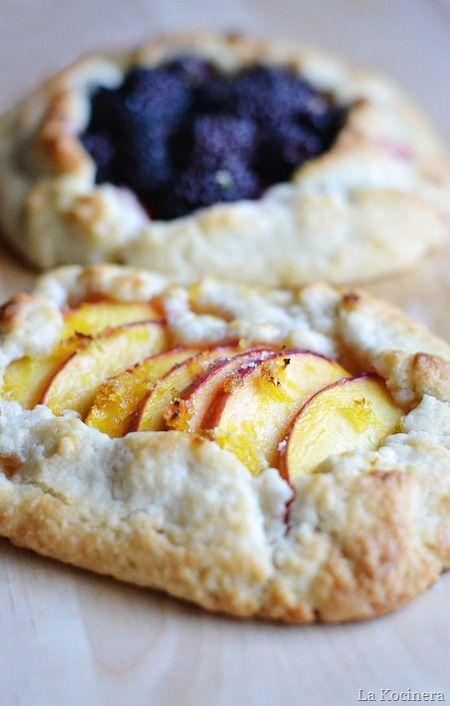 blackberries and peaches crostatas. easiest impressive dessert that it to die for.