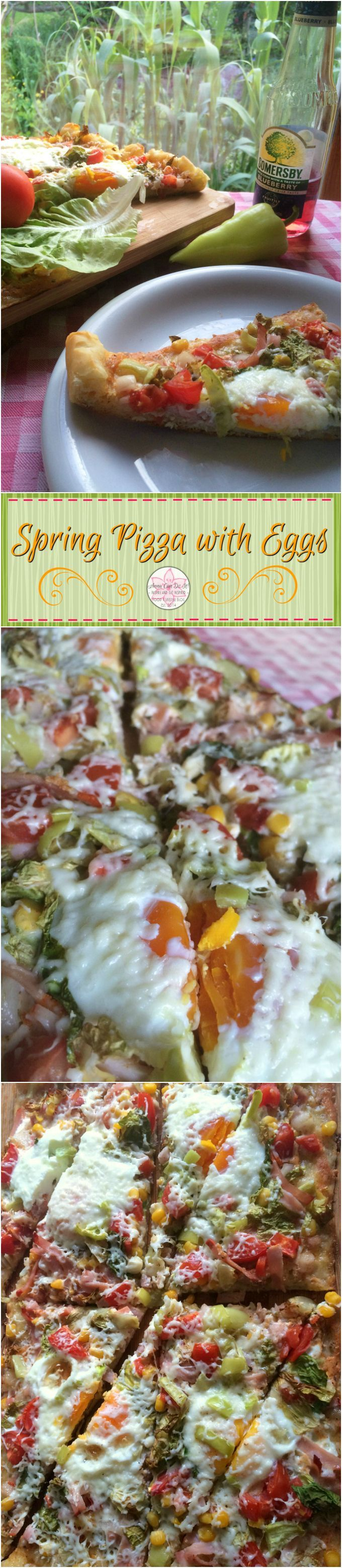 Spring Pizza with Eggs - Anna Can Do It! * The spring salad inspired Spring Pizza with Eggs is so filling, fresh, full of flavors, topped with eggs; it's versatile, perfect for a weekend brunch, a busy week day dinner, even for an office lunch!
