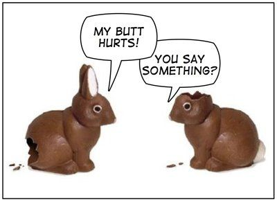 from the Nothinglikeit blog - a chocolate bunny's ears are usually the first to go!