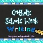 This file contains 12 writing prompts to use during Catholic Schools Week.   You can project them full screen on an interactive whiteboard OR print...