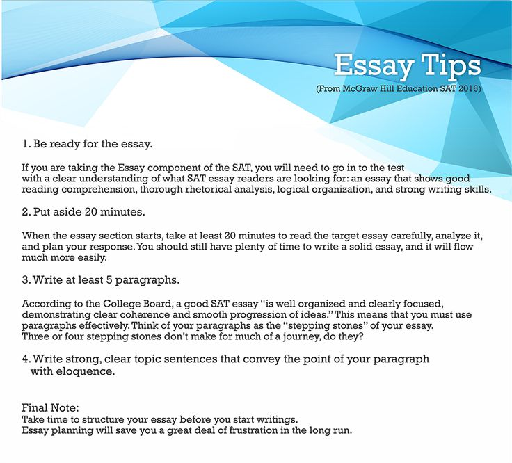 write an essay sat Make use of these tips on how to write an essay for sat get qualified help with writing an essay for sat now.