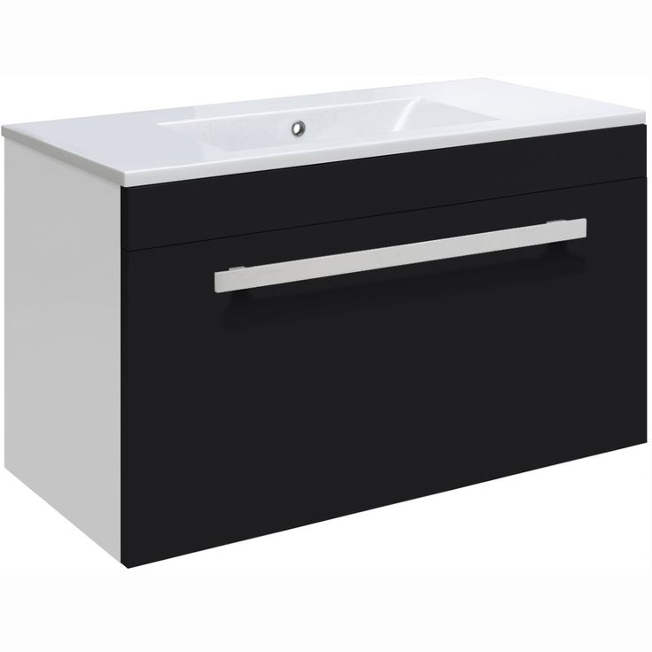 ultra design high gloss black 600mm wall mounted vanity unit bathroom
