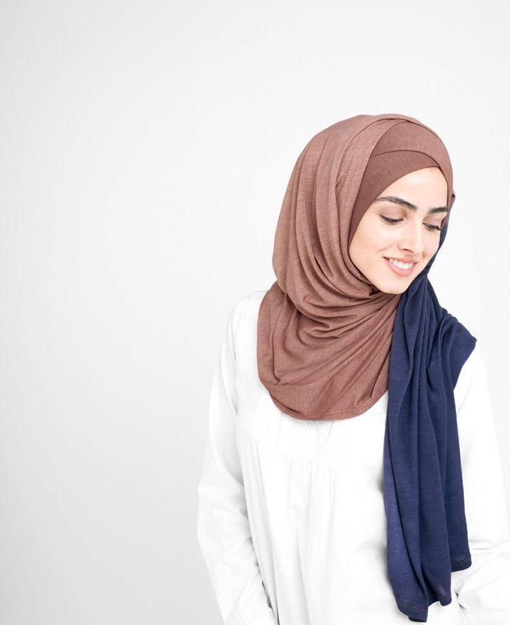 Nutmeg & Deep Cobalt Jersey Ombre Hijab 5FA5c