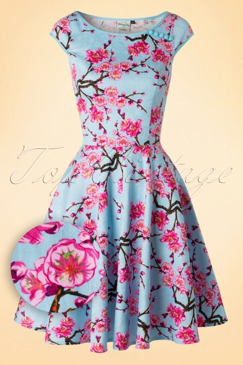 Dancing Days by Banned ~ 50s Alice Blossom Swing Dress in Blue