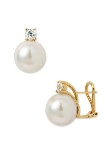 Majorica 12mm Round Pearl Stud Earrings with Cubic Zirconia available at #Nordstrom wedding day jewelry