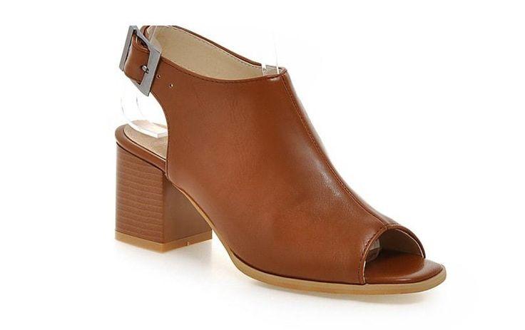 Brown Peep Toe Comfort High Heel Shoes