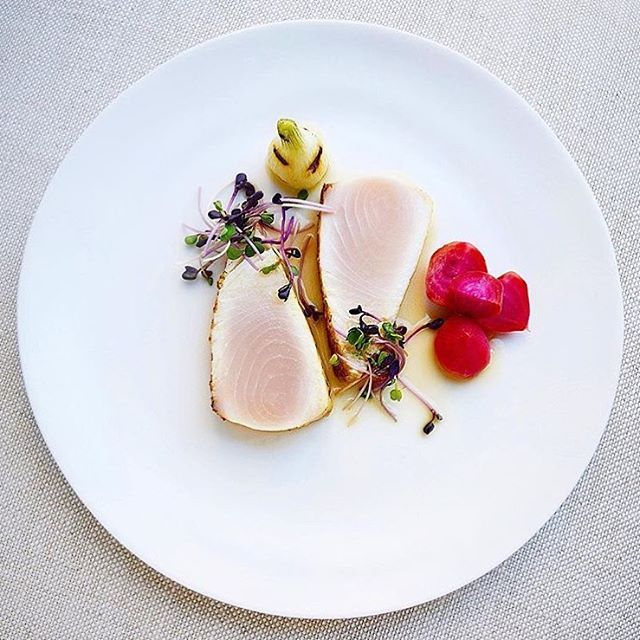 Lemongrass, coriander crispy top dashi poached wahoo, candy cane beets, purple radish, & spring onion. ✅ By - @gayleq ✅  #ChefsOfInstagram