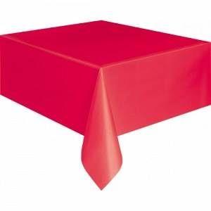 Een plastic tafelkleed met een afmeting van 137 x 274cm. Kleur: rood. Perfect voor themafeesten op <br>kleur! themafeesten herfst