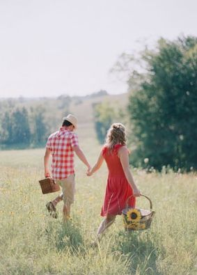 Engagement, outdoor, field, garden, checkered, hats, picnic, Getaway, Summer. Love.