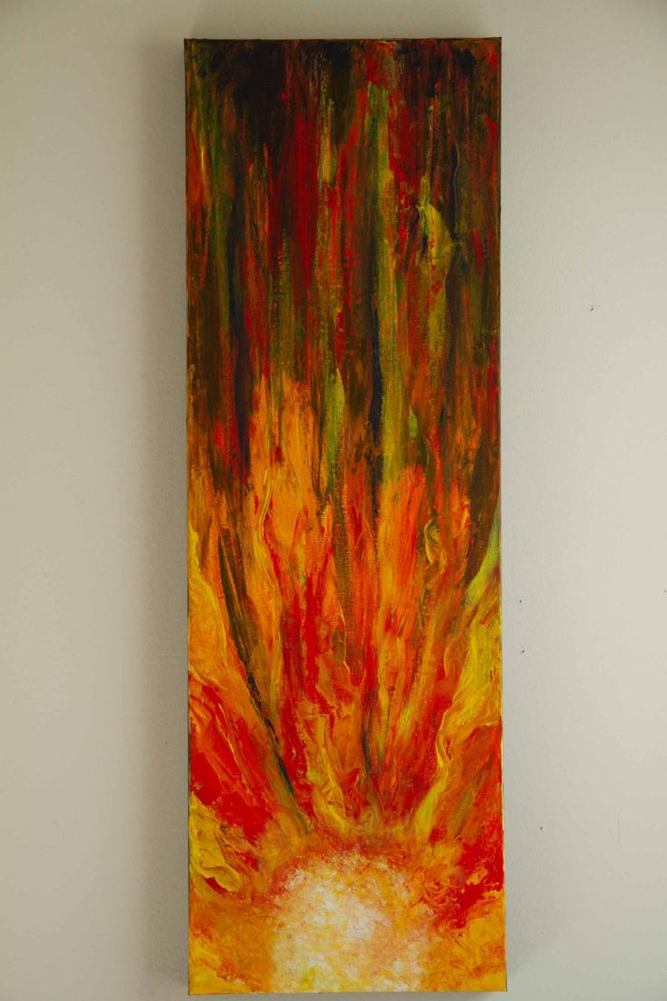 Sun Abstract Painting, Red Canvas Art, Orange Painting, 12x36 Canvas  Painting By Studio1060art