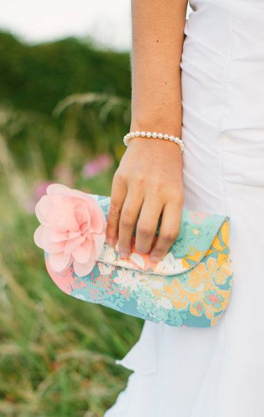 Bridesmaid Clutch Aqua and Peach Floral