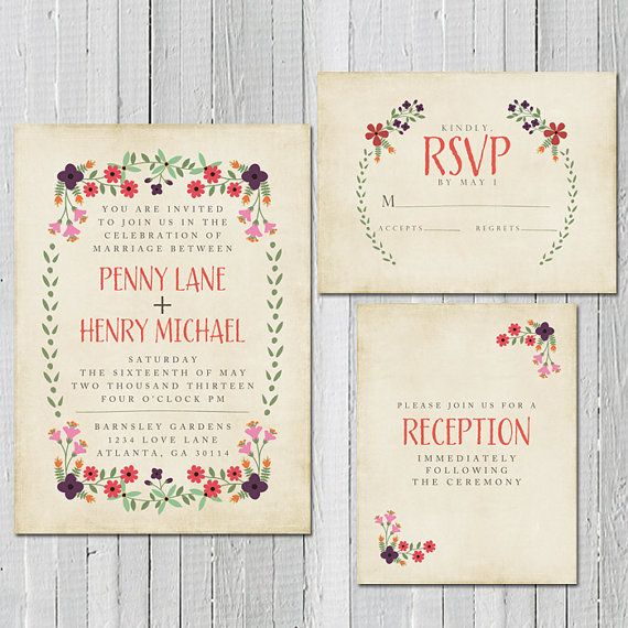 Rustic Spring Wedding Invitation, RSVP Card and Information Card - Burlap and Flowers - Pick your Colors. $55.00, via Etsy.
