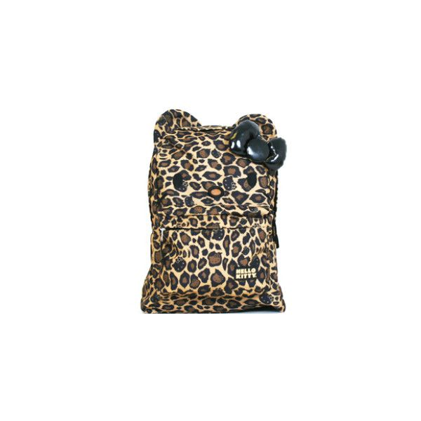 Hello Kitty Leopard Print Backpack Leopard print backpack features an embroidered Hello Kitty face with ears and a shiny black bow! Details: Nylon material, ad…