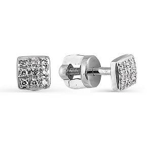 Серьги из белого золота с белыми бриллиантами