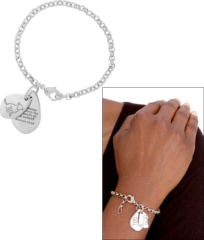 Your faith, and love for animals, guides your life as you strive for utmost compassion. Our silver-tone bracelet honors this grace with two charms, one engraved with Proverbs 12:10 and the other a dog silhouette.