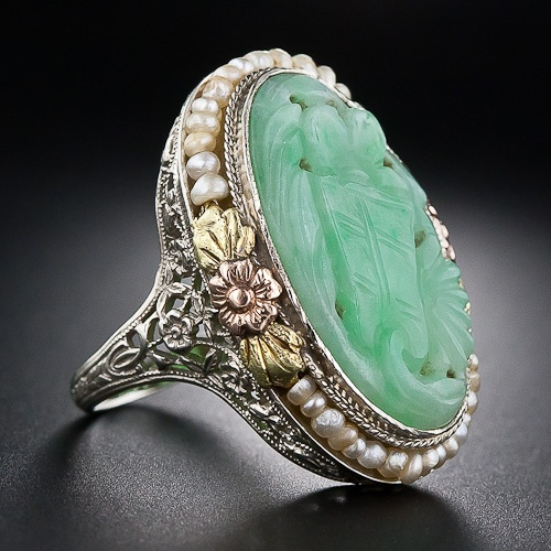 carved jade / gold / sterling / seed pearls, 1930s / $1650