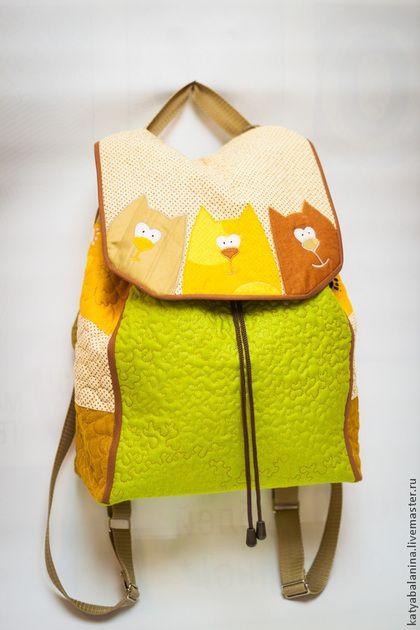 Рюкзаки ручной работы. Ярмарка Мастеров - ручная работа. Купить Рюкзак Забавные коты. Handmade. Зелёный, рюкзак женский