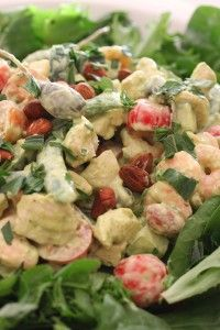 Steamed Chicken Salad with Herbed Avocado Mayonnaise made in Thermomix – mmm would love to try the mayo with other salads too ;)
