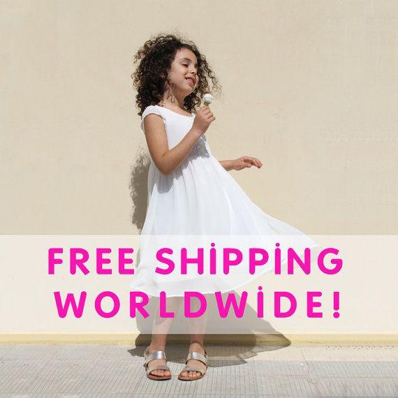 FREE SHIPPING  white Flower Girl Dress   White baptism by nukile