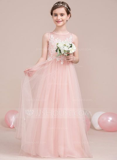 A-Line/Princess Scoop Neck Floor-Length Beading Sequins Zipper Up Regular Straps Sleeveless No Other Colors General Tulle Junior Bridesmaid Dress