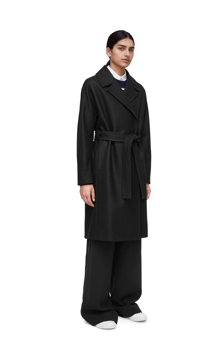 """<p style=""""text-align: justify;"""">With the soft and smooth felted surface that is significant for the Melton fabric, this comfortably lightweight coat is made"""
