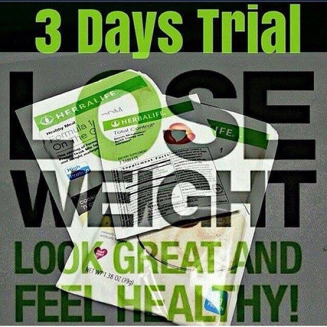 Herbalife 3-day trial is great email me for yours lisacassity@yahoo.com or independent member of Herbalife Lisa Cassity at 520-371-1273