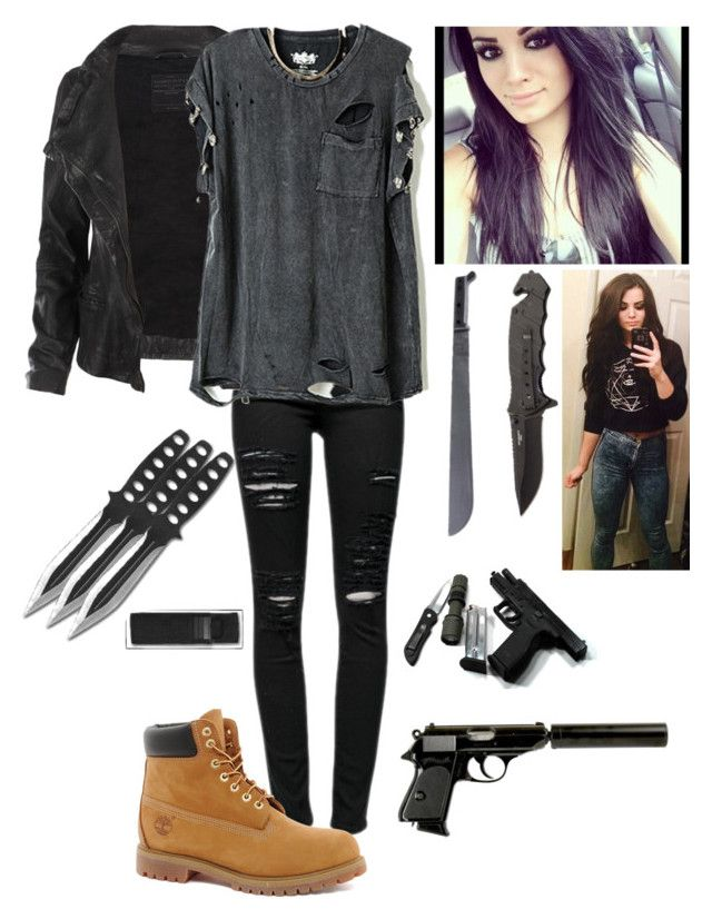 """Tegan's Zombie Apocalypse Outfit"" by amma-and-anna ❤ liked on Polyvore featuring Frame Denim, AllSaints and Timberland"