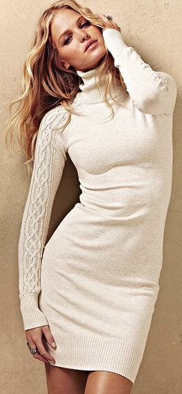 Victoria's Secret Cable-Sleeve Turtleneck Sweaterdress