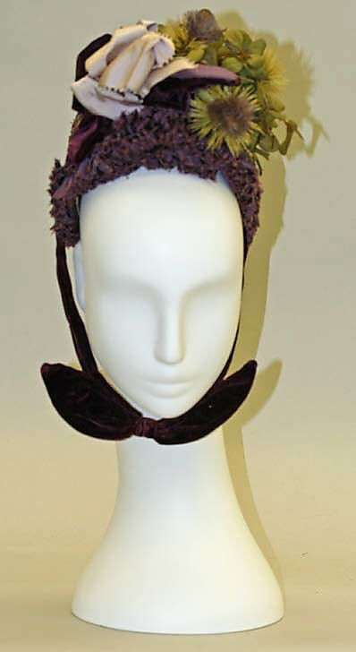 Victorian millinery: Bonnet 1887, French, Made of silk and straw