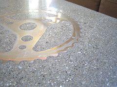 Poured concrete counter top