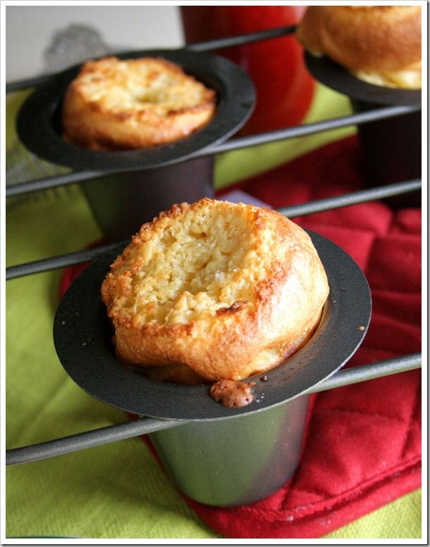 Buttery Coconut Popovers with Fresh Strawberry Syrup ~ Doughmesstic