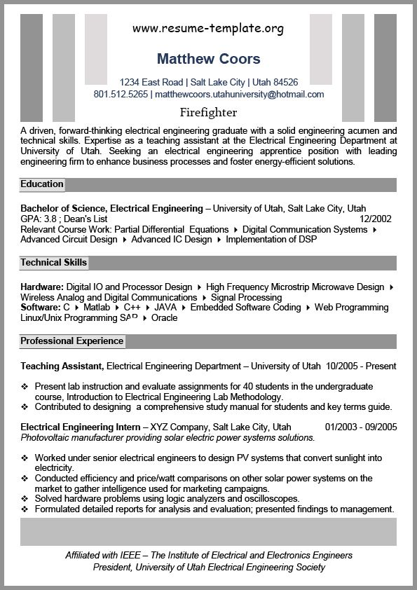 17 best ideas about firefighter resume on pinterest