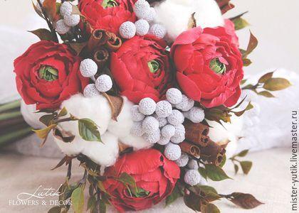Свадебные цветы ручной работы. Зимний букет невесты с ранункулюсами,хлопком и корицей. Lutik flowers & decor. Интернет-магазин Ярмарка Мастеров.