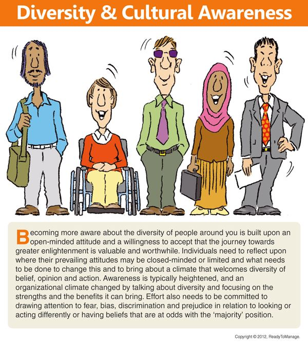 A diversity cartoon/comic, including an overview/summary of diversity and cultural awareness; for use in business presentations, training and development, academic environments, human resources, when coaching, in workplace/office meetings, etc.