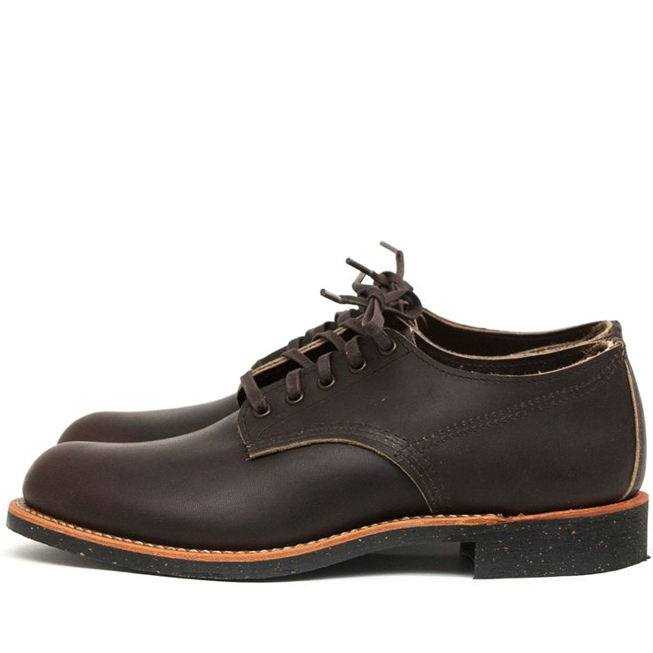 """The Red Wing Shoes Merchant Oxford 8044 Ebony Harness is a classicRed Wing Shoes Oxford work shoe and is made in Red Wing, Minnesota.The Merchant Oxford is based ontraditionalwork boots from the 1920's, whenRed Wing started makingboots withouttoe reinforcementto provide a more comfortable fit without stress points.The Merchant is based on a style whichwas called """"black chief"""" and was made ... Read More"""