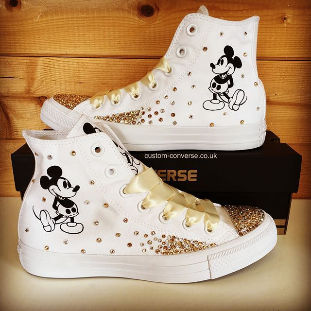 Mickey Mouse High Tops with mixed silver and gold Swarovski