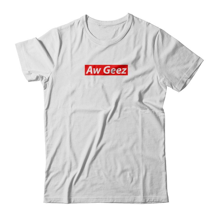 Aw Geez - Rick&Morty x Supreme collab White Gildan Short Sleeve Tee