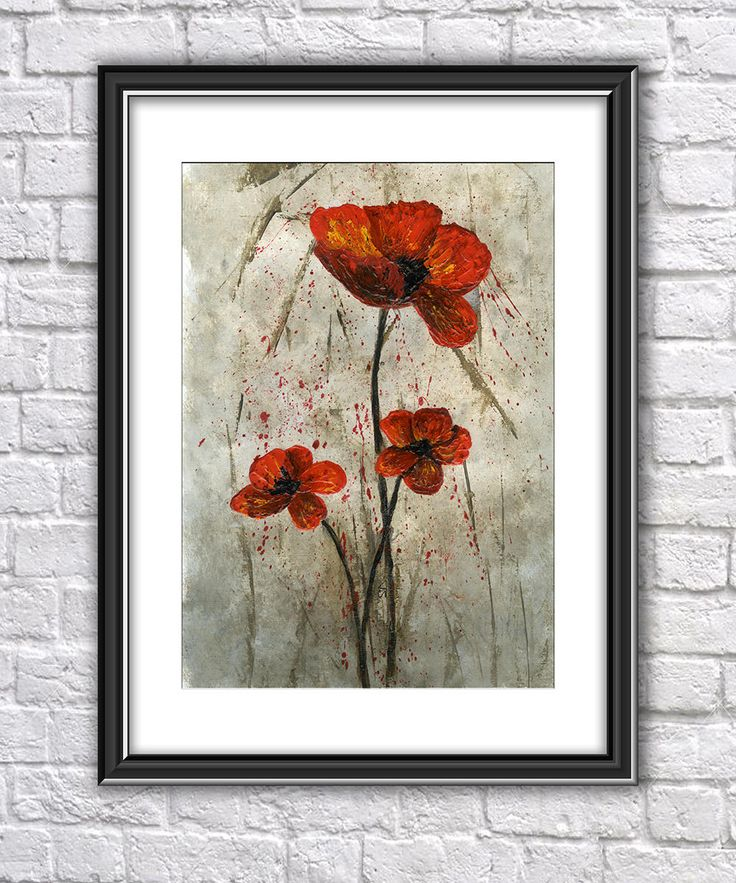Poppies PRINT from an Original Acrylic Painting, Original Art Print, Floral Art Print, Poppies Painting Print, Birthday Gift, Art Gift