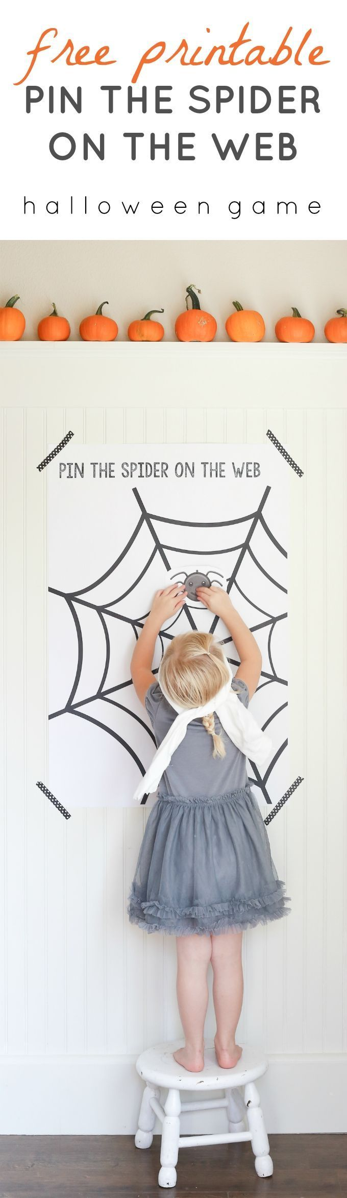 "Free Printable ""Pin The Spider on the Web"" Game. A Halloween twist to the classic Pin the Tail on the Donkey by Ella Claire."