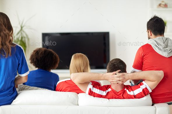 Friends Or Football Fans Watching Tv At Home Football Fans Happy Friends Soccer Tv